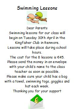 Swimming Lessons for 1st/2nd Classes