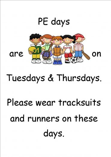 PE days for Ms. McLoughlin's Class