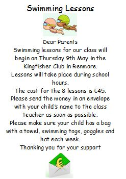 Swimming Lessons for 2nd/1st Classes