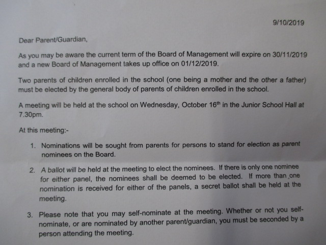 Note Re: Board of Management