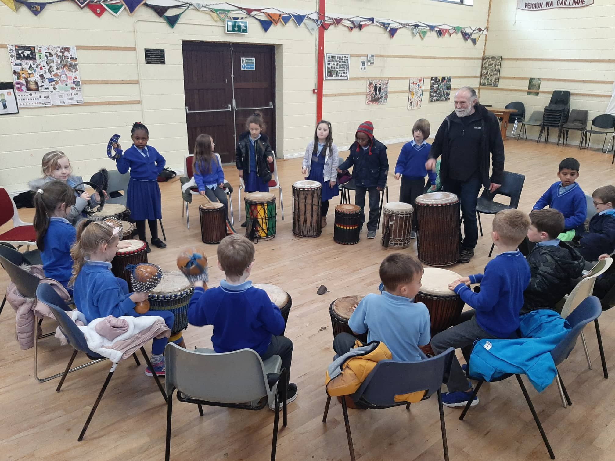 The class enjoyed their drumming classes during the first term.